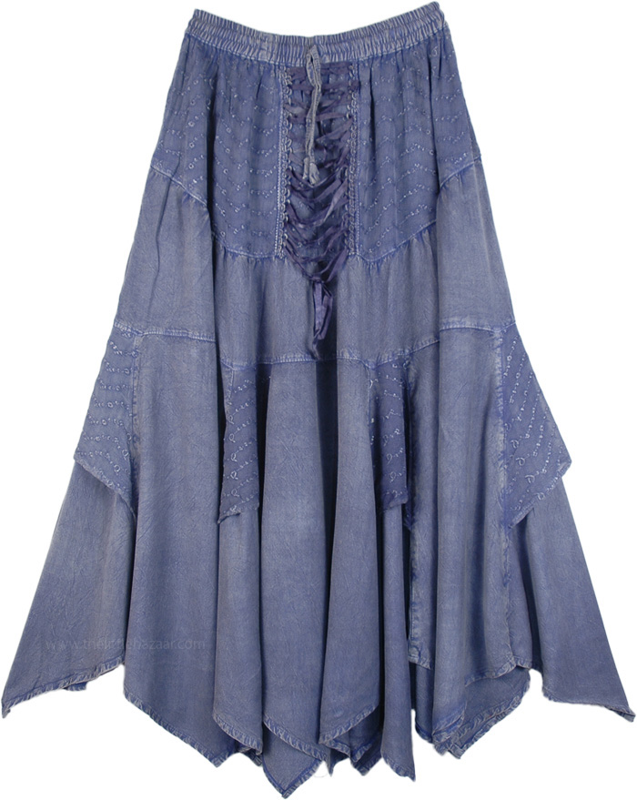 Renaissance Chic Embroidered Skirt in Amethyst, Pale Amethyst Handkerchief Hem Skirt