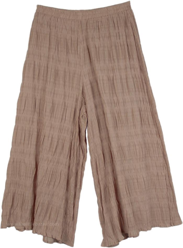 Bohemian Breeze Short Split Skirt Gauncho Pants, Radical Gauncho Rippling Capri Pants in Beige