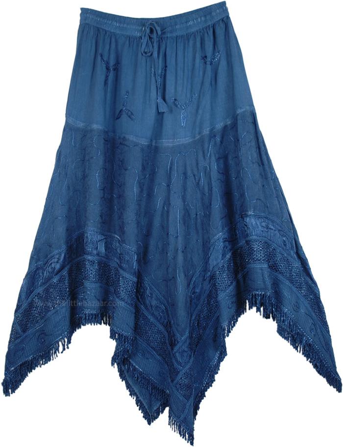Rad Denim Blue Medieval Chic Skirt, Radical Renaissance Rodeo Gypsy Skirt