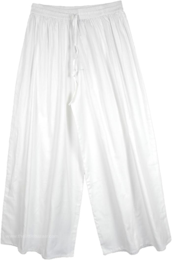 Summer White Froth Split Pant Skirts, Angel White Wide Leg Split Pant Skirt