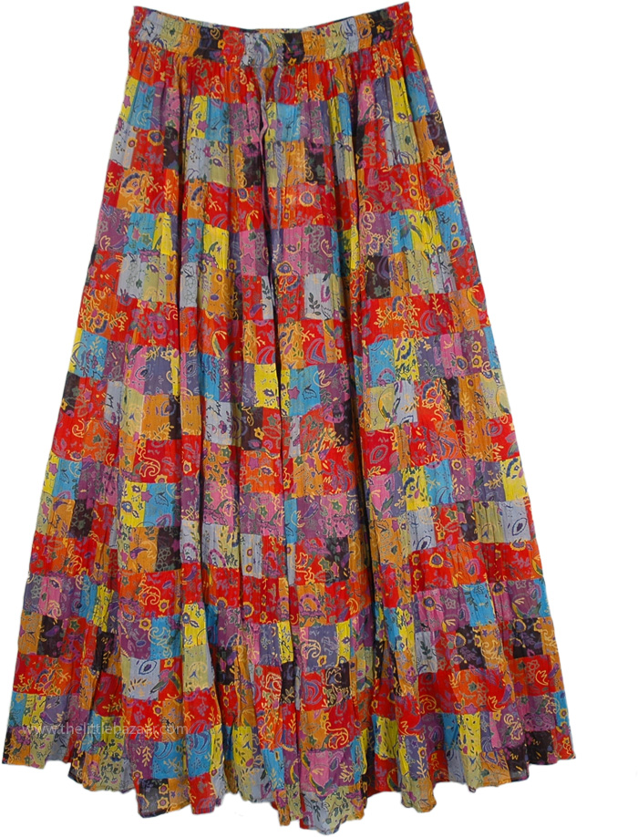 Maxi Long Floral Skirt in 18 Tiers, Spiced Cider Multi Color Floral Maxi Skirt