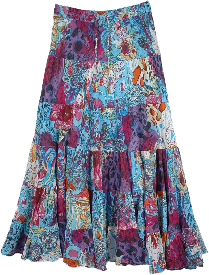 Vintage Floral Print Tiered Skirt, Pretty Paisley Blue Printed Skirt Long