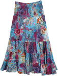 Pretty Paisley Blue Printed Skirt Long