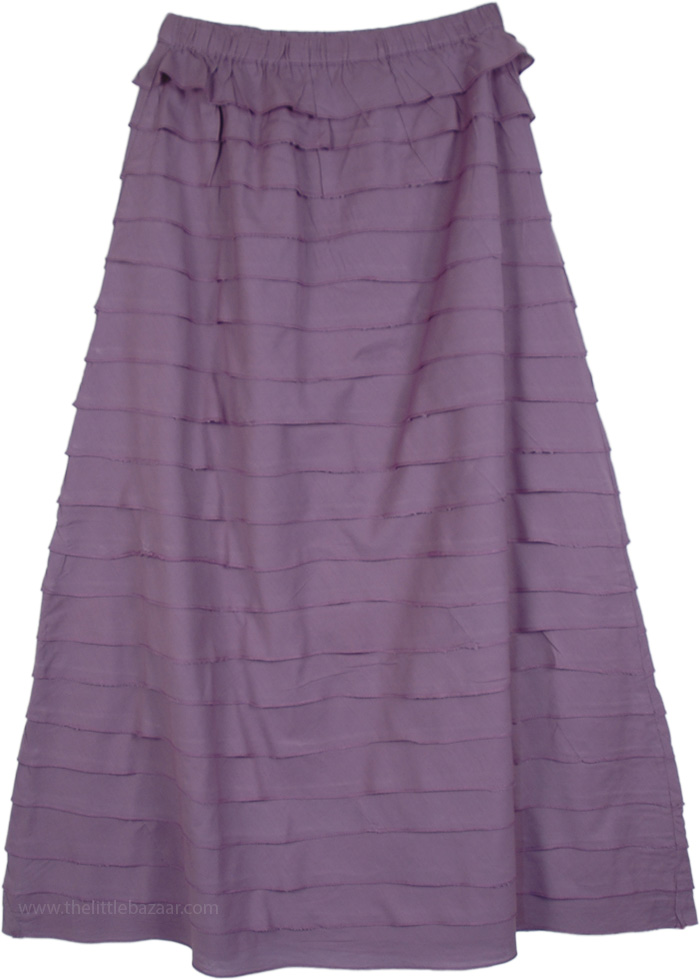 Vivid and Violet Fall Tiered Skirt, Pretty in Violet Tiered Long Skirt