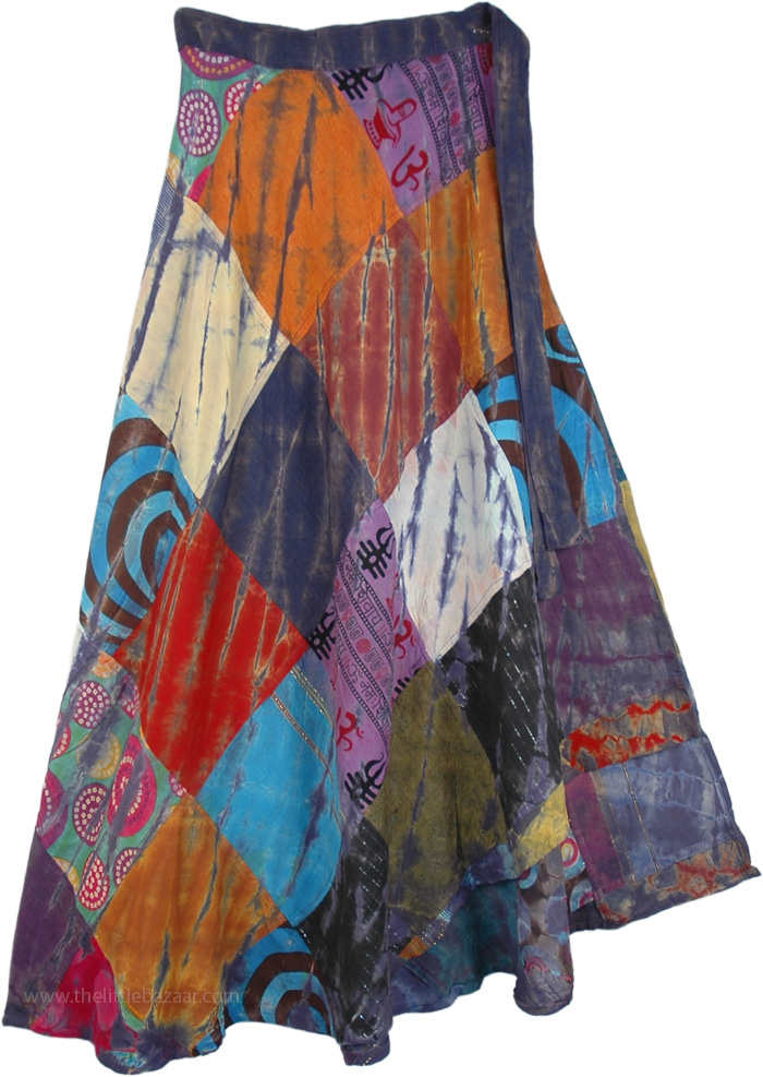Patchwork Abstract Autumn Long Wrap Around Skirt, Mystic Mojo Wrap Around Patchwork Skirt