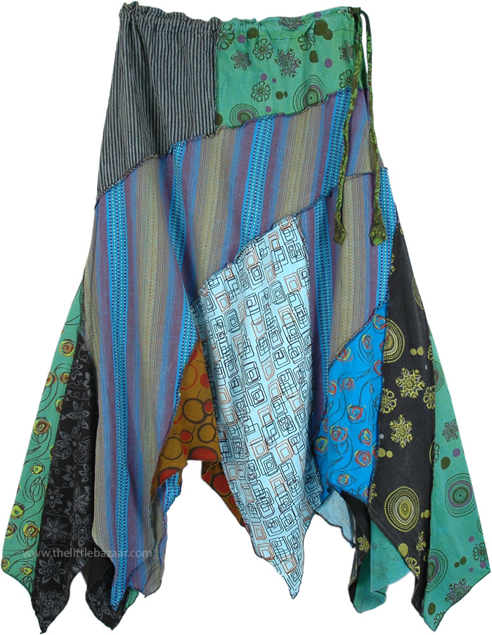 Uneven Hanky Hem Hippie Skirt with Cool Tonal Patches, Cool Autumn Asymmetric Floral Patchwork Hanky Skirt