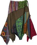 Uneven Hanky Hem Hippie Skirt with Warm Earthen Patches [4819]
