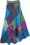 Azure Blue Patchwork Abstract Long Wrap Around Skirt [4823]