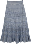 Blue Grey Stonewashed Maxi Long Net Skirt