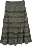 Stonewashed Green Long Skirt with Yoga Waistband [4848]