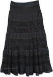 Maxi Black Long Skirt with Yoga Waistband [4849]