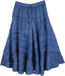 Blue Renaissance Skirt with Embroidery [4850]