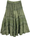 Green Renaissance Skirt with Embroidery [4851]