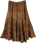Brown Renaissance Skirt with Embroidery [4852]