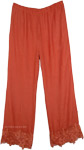 Orange Red Solid Pants for Women [4865]