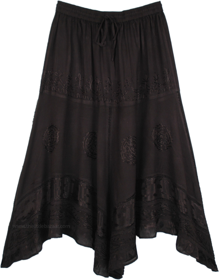 Black Renaissance Skirt with Embroidery, Medieval Handkerchief Black Maxi Skirt