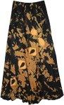 Appliqued Black Copper Tie Dye Skirt [4938]