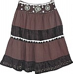 Dark Brown Womens Short Skirt w/ Sequins