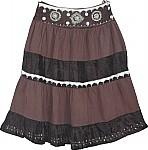 Dark Brown Womens Short Skirt w/ Sequins