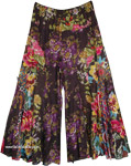 Smoky Black Palazzo Pants with Multicolored Floral Pattern