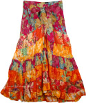 Stylized Tiered Cotton Skirt in Orange Bloom