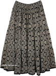 Bohemian Black Cotton Skirt with Intricate Flowery Design