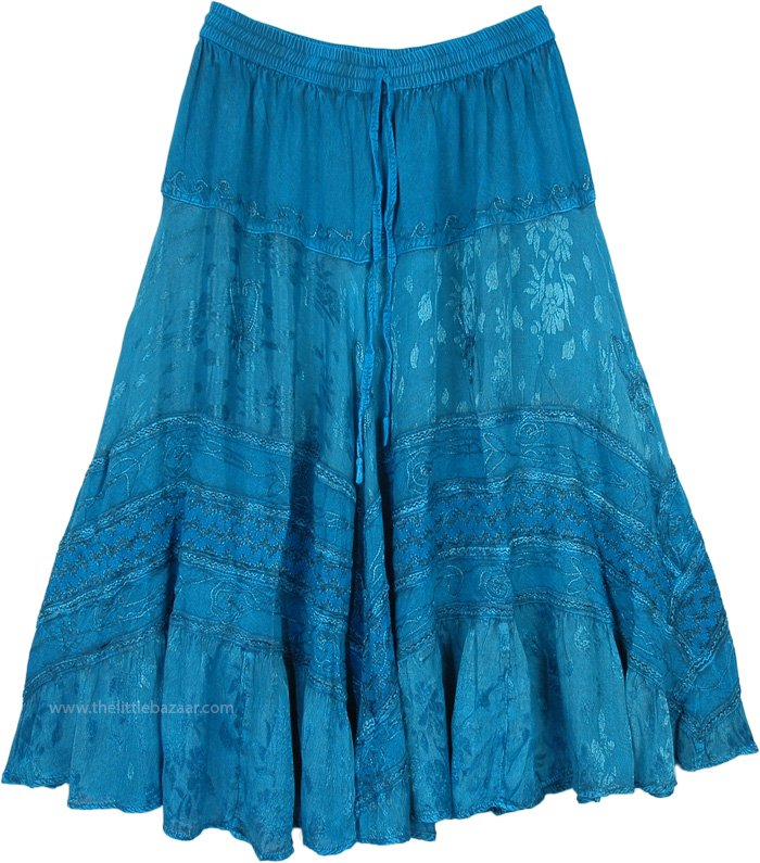 Teal Ribbon Tiered Maxi Skirt with Lace Work
