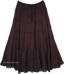 Midnight Black Tiered Dancing Long Skirt