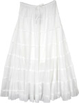 Glacier White Circular Long Cotton Skirt with Tiers