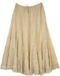 Mia Beige Long Skirt with Tiers