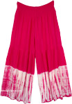 Crimson Pink Boho Pants with Tie Dye Wide Bottom in XL
