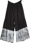 Tie Dye Rayon Wide Leg Lounge Pants in Black and White in XL