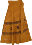 Ochre Brown Striped Wrap Around Skirt