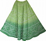 Tie Dye Sequin Long Skirt  in Green
