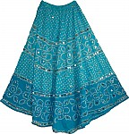 Tie Dye Indian Long Skirt Blue