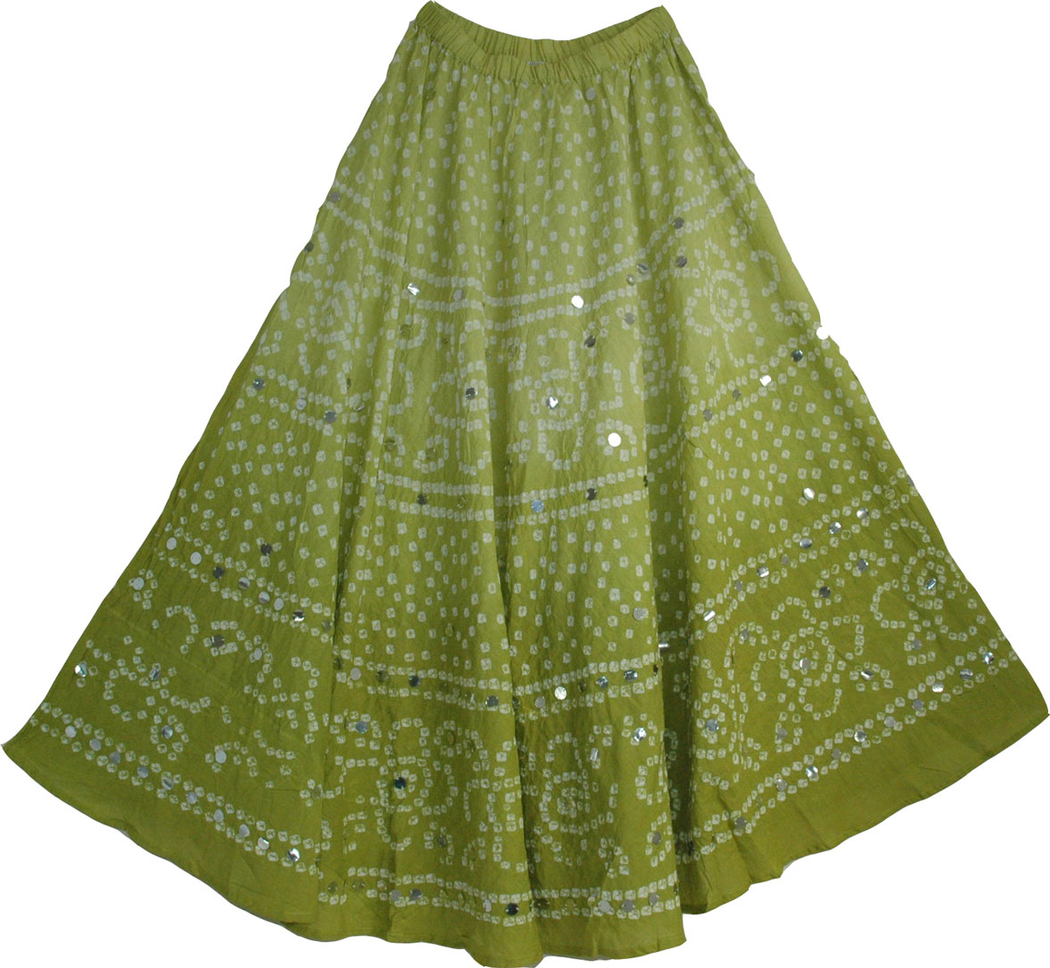 Tie Dye Skirt Long in Green