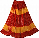 Red Yellow Summer Long Skirt