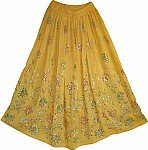 Old Gold Sequin Skirt with Floral Motifs