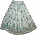White Sequin Knee Length Skirt