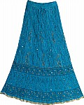 Blue Cotton Crinkle Long Skirt
