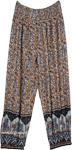 Floral Harem Pants with Pockets Grey Elephant Print
