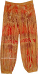Red and Brown Gaucho Pants with Burning Flame Effect Tie Dye
