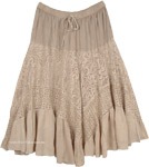 Latte Beige Western Skirt with Lace Work Tiers