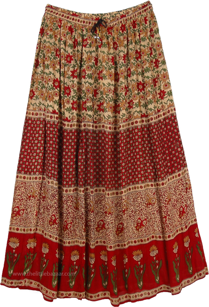 be7f62bdb Carmine Red Rayon Long Skirt with Delicate Floral Designs | Red ...