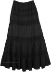 Charisma Black Tiered Long Skirt with Crochet Detail