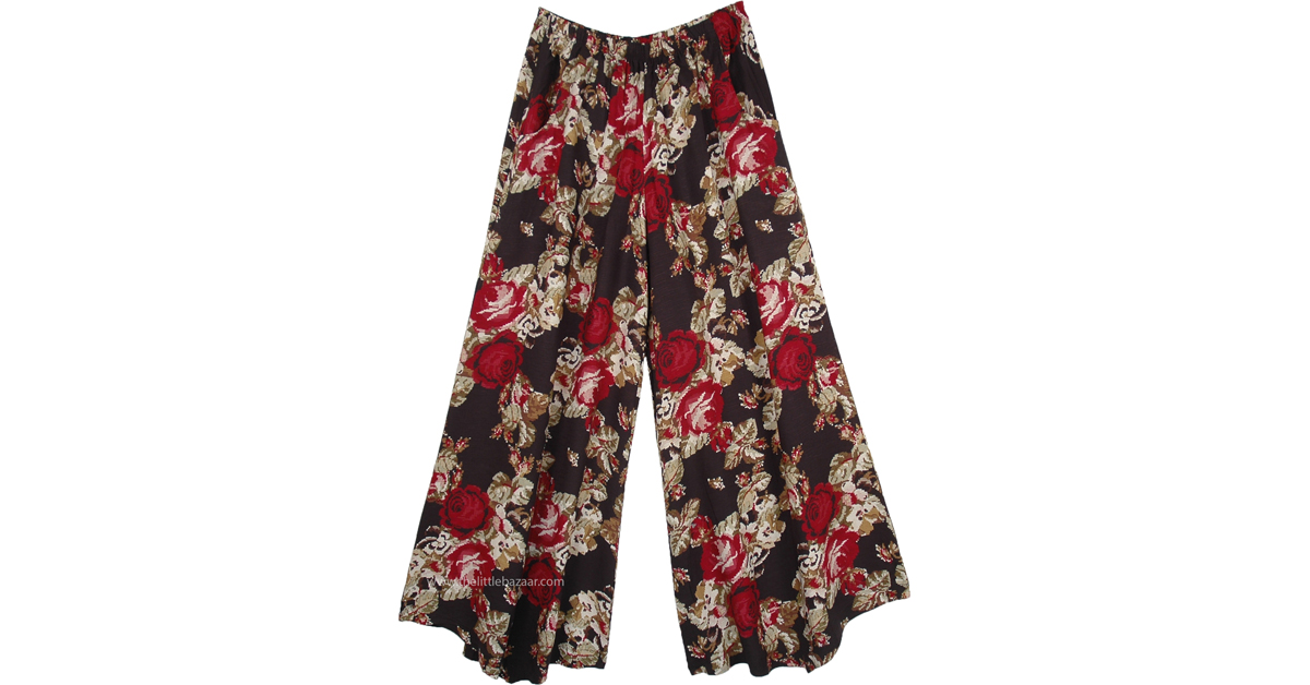 Red Rose Wide Leg Palazzo Pants With Side Pockets Black
