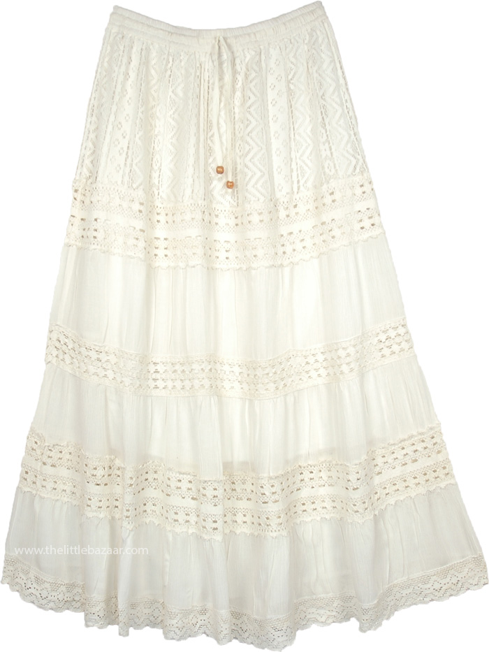 Ivory Rose Gypsy Long Lace Skirt With Crochet Tier Details White