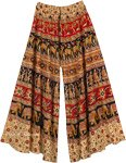 Floral Wide Leg Full Flare Cotton Elephants Pants for Women