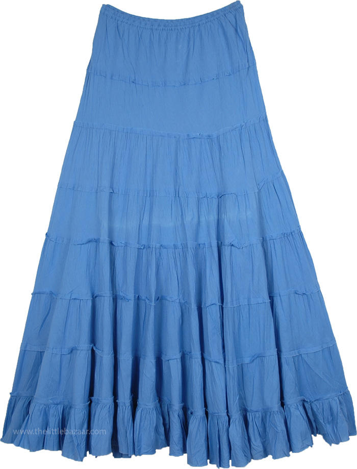 Solid Blue Flared Cotton Summer Skirt with Gathered Tiers  ad992b241001
