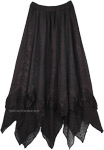 Myth Magic Black Handkerchief Hem Long Skirt with Lace
